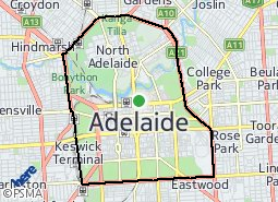 Map Of Adelaide Cbd City of Adelaide suburb map