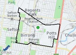 Location of Birrong - Regents Park - Potts Hill