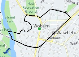 Location of Woburn North - Woburn South