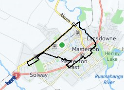 Location of Masterton West - Masterton Central - Masterton Railway