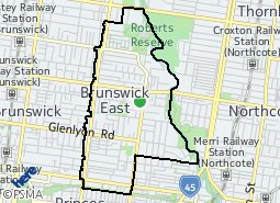 Location of Brunswick East