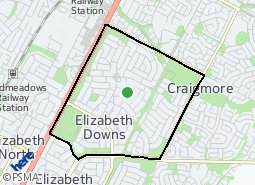 Location of Elizabeth Downs