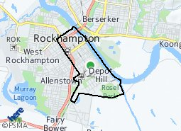 Location of Rockhampton City and Depot Hill