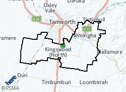 Location of Warral - Kingswood - Nemingha - Calala (Rural)