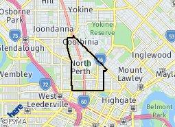 Map North Perth North Perth suburb boundaries