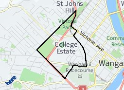 Location of Whanganui Collegiate