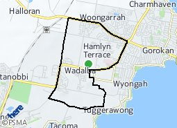 Location of Hamlyn Terrace - Wadalba