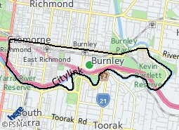 Location of Cremorne and Burnley - Richmond South